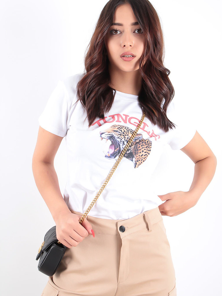 LADYLIKE FASHION Leopard Logo Tee White