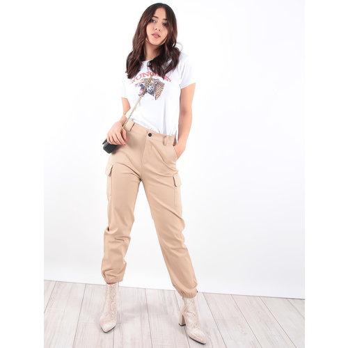 LADYLIKE FASHION Camel Pocket Detail Cargo Trousers
