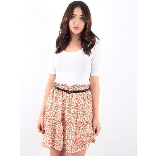 LADYLIKE FASHION Brown Ruffled Skirt Gold Print