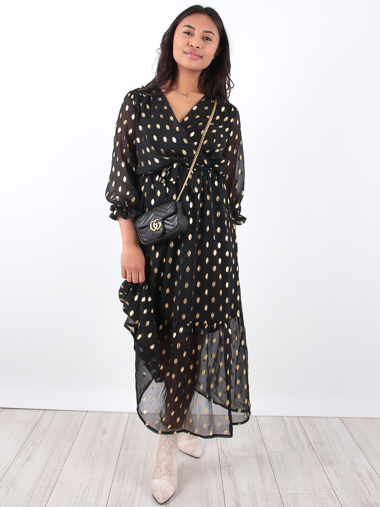 LADYLIKE FASHION Black Ruffled Gold Detailed Maxi Dress