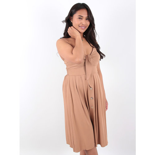 LADYLIKE FASHION Button Up Tie Front Strappy Dress Camel