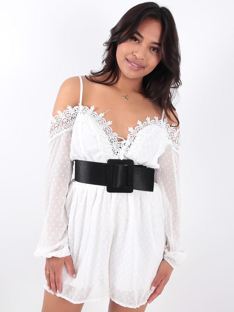 LADYLIKE FASHION White Lace Trim Tie Detail Cold Shoulder Playsuit