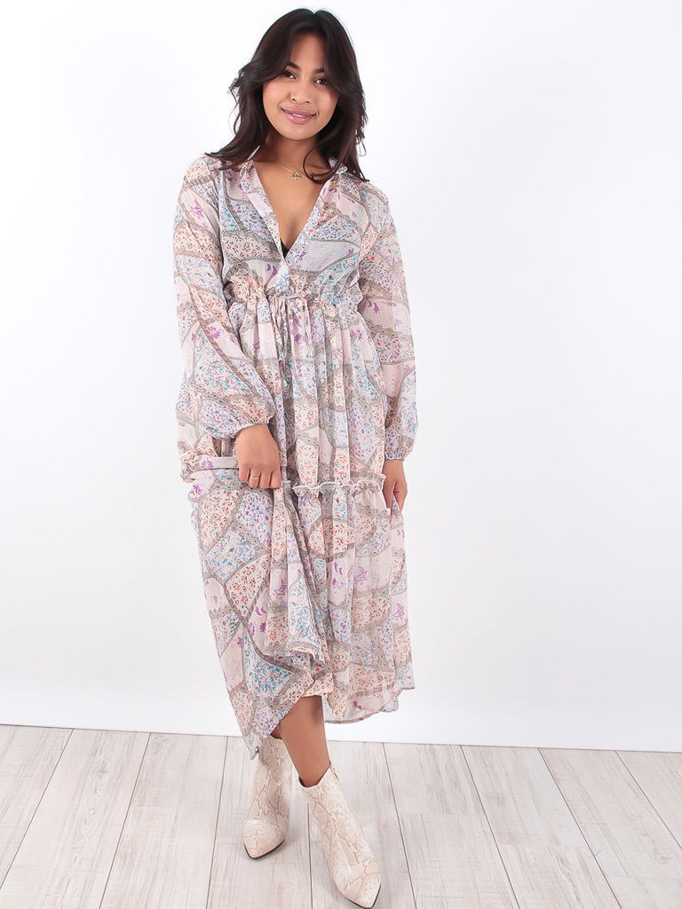 LADYLIKE FASHION Maxi Ruffled Flower Print Dress