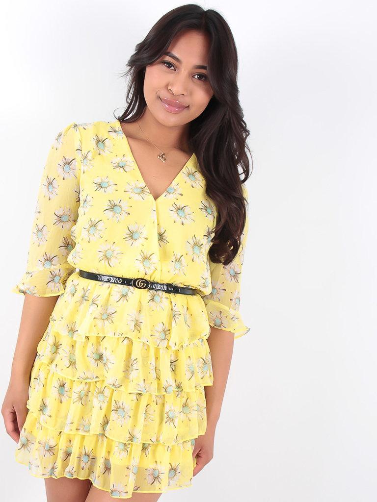 LADYLIKE FASHION Yellow Ruffled Daisy Print Dress