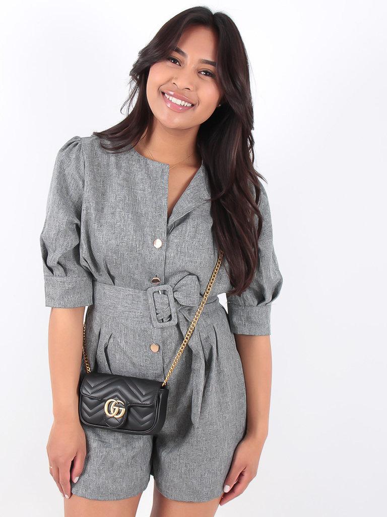 LADYLIKE FASHION Grey Belted Puff Sleeve Playsuit