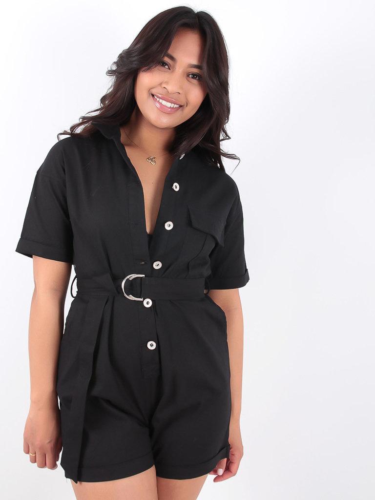LADYLIKE FASHION Black Utility Belted Playsuit