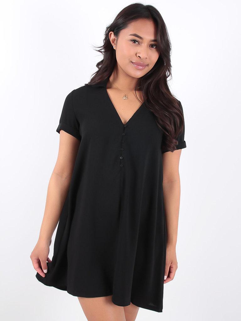 LADYLIKE FASHION Black Tunic Dress Small Button