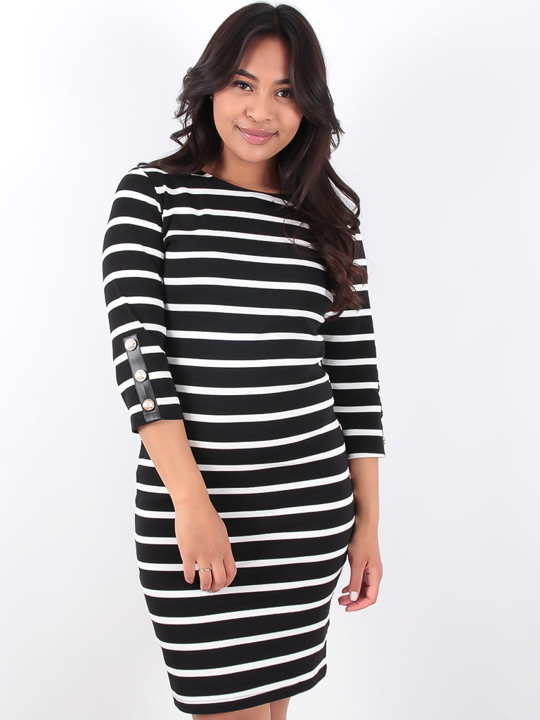 LADYLIKE FASHION Black and White Striped Dress