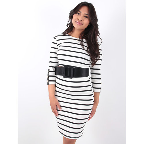 LADYLIKE FASHION White and Black Striped Dress