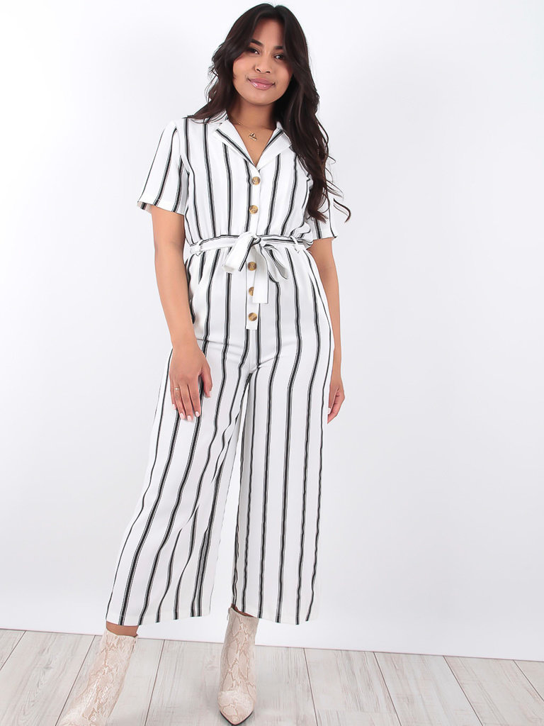 LADYLIKE FASHION Wide Leg Striped Short Sleeve Jumpsuit