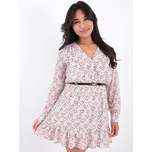 LADYLIKE FASHION White Heart Print Ruffled dress