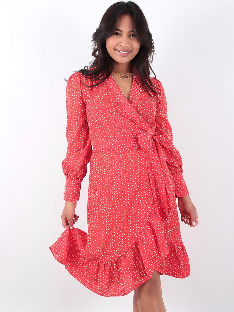 LADYLIKE FASHION Midi Polka Dot Wrap Dress Red
