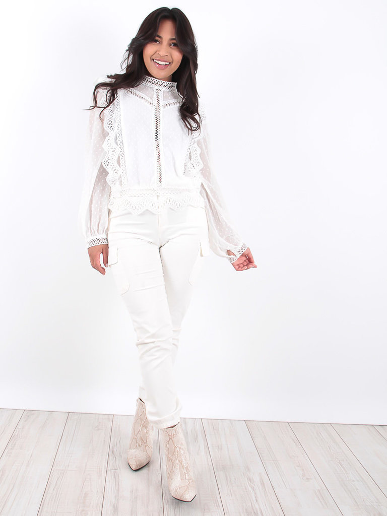 LADYLIKE FASHION White Pocket Detail Cargo Trousers