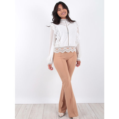 LADYLIKE FASHION Camel High Waisted Flared Trousers