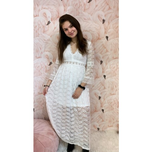 LADYLIKE FASHION Long Lace V-Dress White