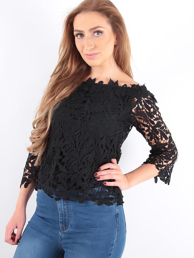 LADYLIKE FASHION Lace Bardot Top Black