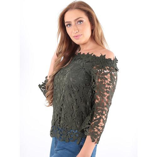 LADYLIKE FASHION Lace Bardot Top Khaki