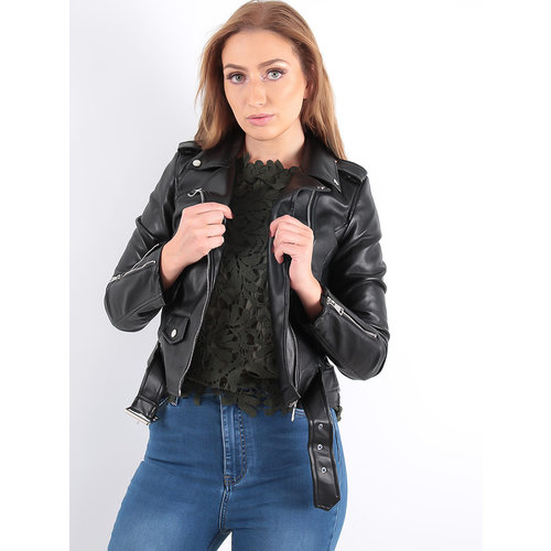 LADYLIKE FASHION Fake Leather Jacket Black