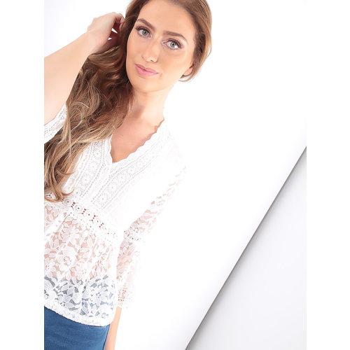 LADYLIKE FASHION Lace Peplum Top White