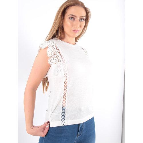 LADYLIKE FASHION T-Shirt Lace Sleeve White