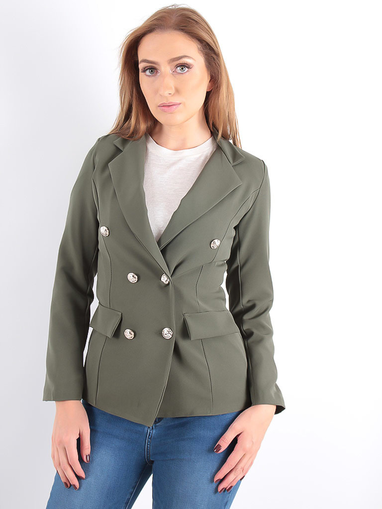 LADYLIKE FASHION Silver Button Detail Blazer Khaki