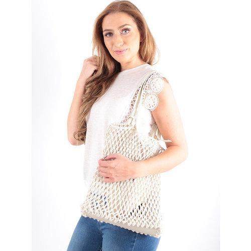 LADYLIKE FASHION Crochet Net Bag in Bag Ecru