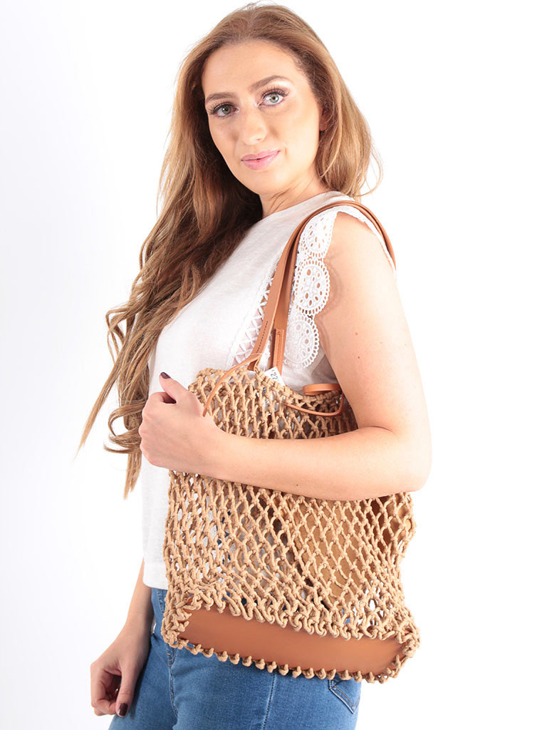 LADYLIKE FASHION Crochet Net Bag in Bag Brown