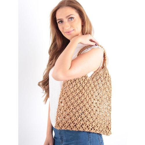 LADYLIKE FASHION Crochet Net Bag Brown