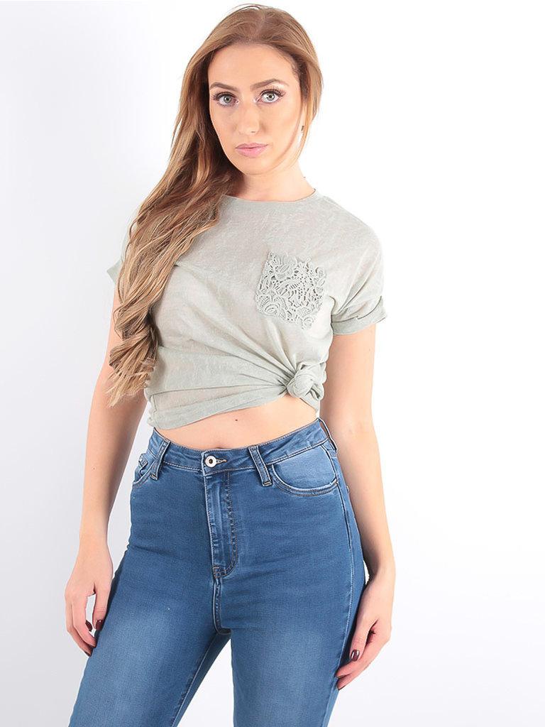 LADYLIKE FASHION T-Shirt Lace Pocket Khaki