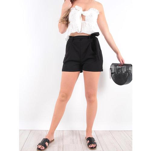 LADYLIKE FASHION Short Black Tie Waist