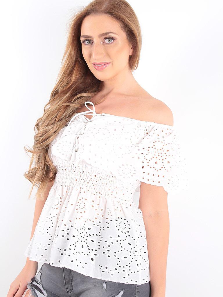 LADYLIKE FASHION Lace Bardot Babydoll Top White