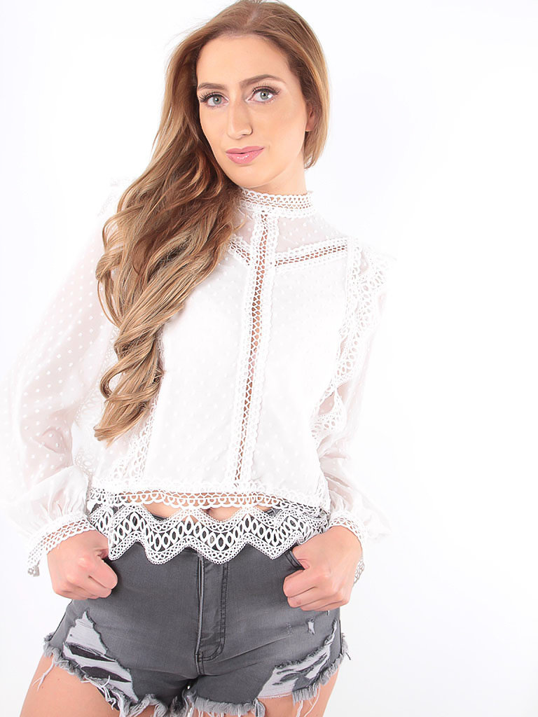 LADYLIKE FASHION Blouse White Dots See  Through
