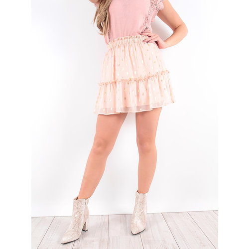 LADYLIKE FASHION Pink Gold Detailed Ruffles Skirt
