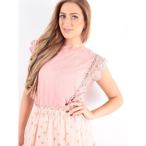 LADYLIKE FASHION T-Shirt Lace Sleeve Pink