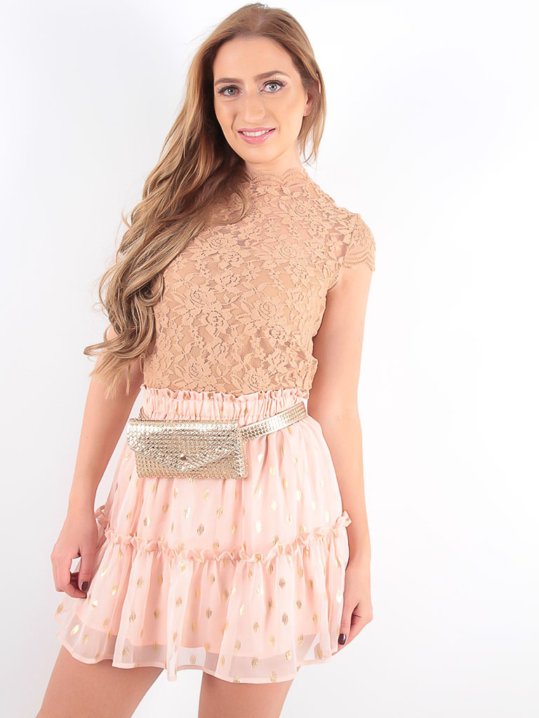MAY - LADYLIKE FASHION Lace Crop Top Camel