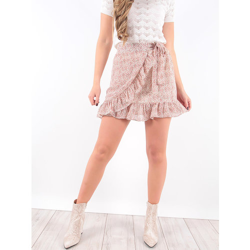 LADYLIKE FASHION Wrap Over Ruffled Skirt White