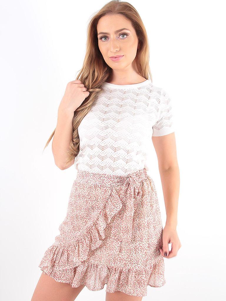 LADYLIKE FASHION Lace Knitted Shirt White