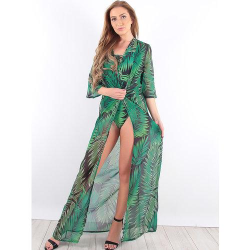 LADYLIKE FASHION Leaf Print Swimsuit with Kimono Green