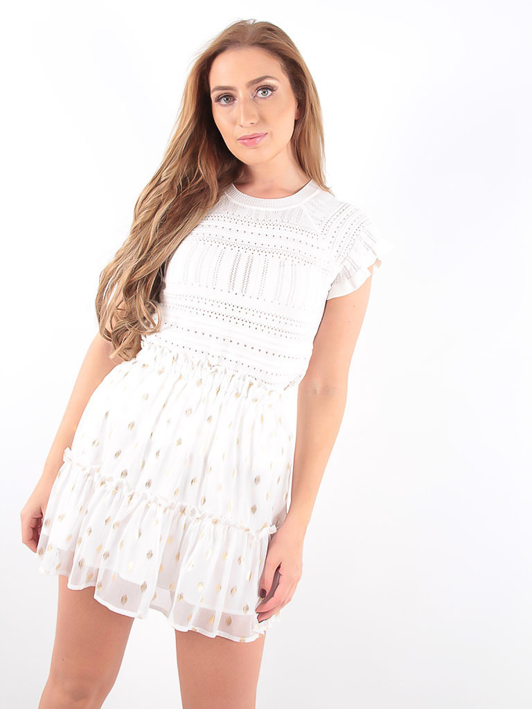 LADYLIKE FASHION White Gold Detailed Ruffles Skirt