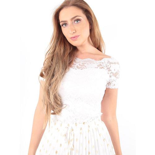 LADYLIKE FASHION Lace Bardot Body White