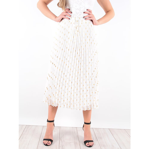 LADYLIKE FASHION White Pleated Gold Detail Midi Skirt