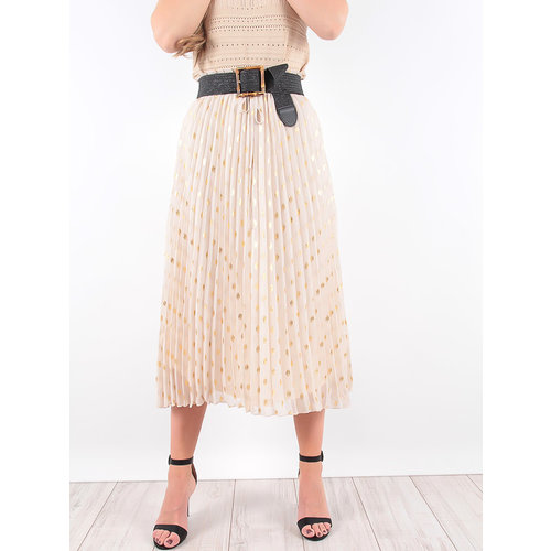 LADYLIKE FASHION Beige Pleated Gold Detail Midi Skirt