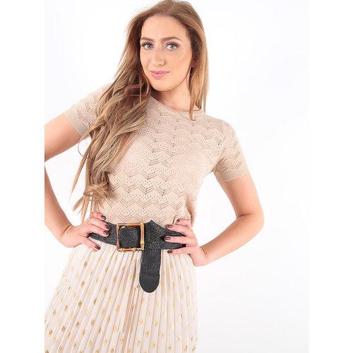 LADYLIKE FASHION Lace Knitted Shirt Beige