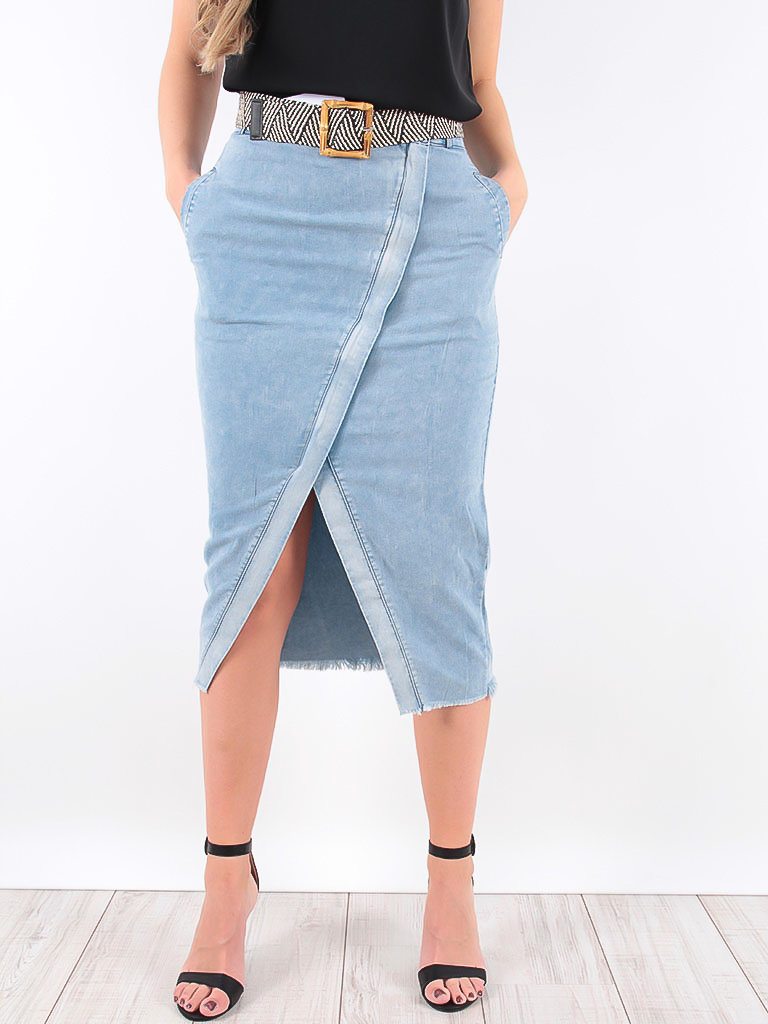 LADYLIKE FASHION Skirt Jeans With Symmetrical Zipper Blue