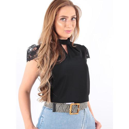 LADYLIKE FASHION Blouse Lace Sleeve Black