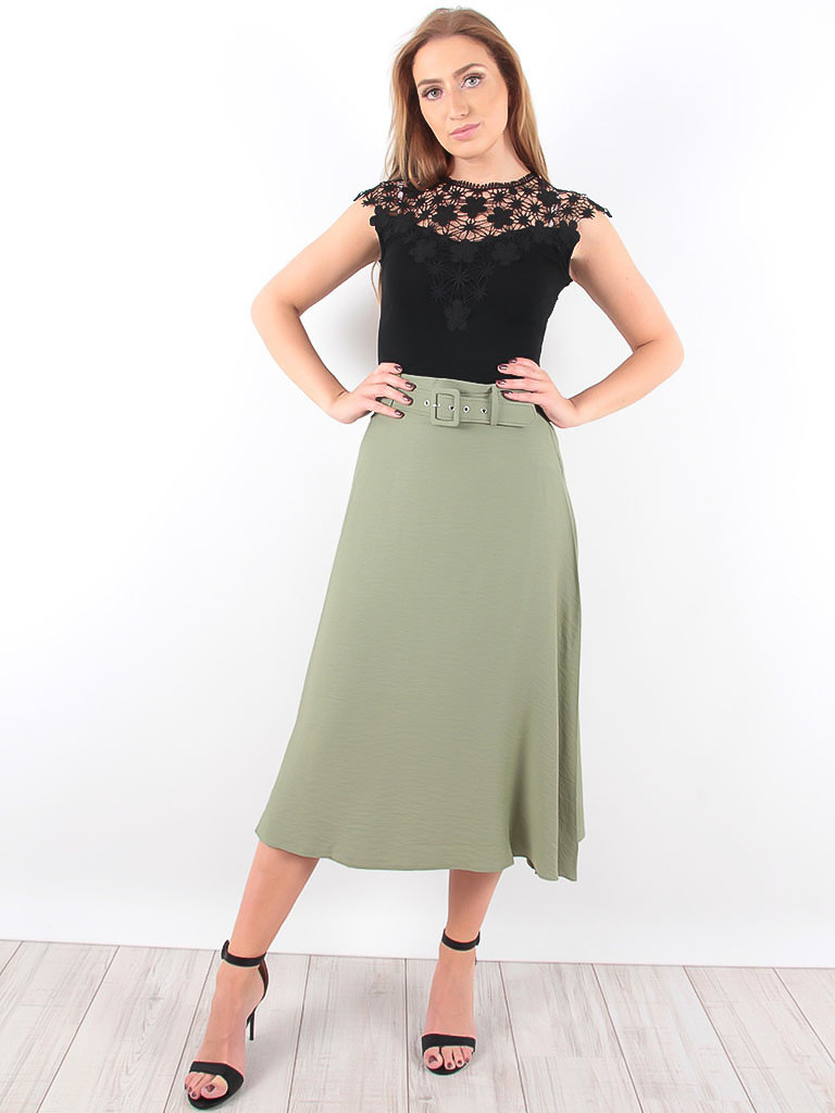 LADYLIKE FASHION Skirt With Belt Khaki