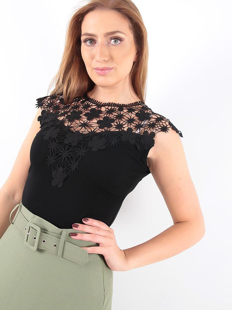 LADYLIKE FASHION T-Shirt With Lace Black