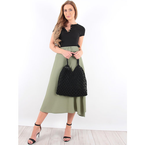 LADYLIKE FASHION Crochet Net Bag Black