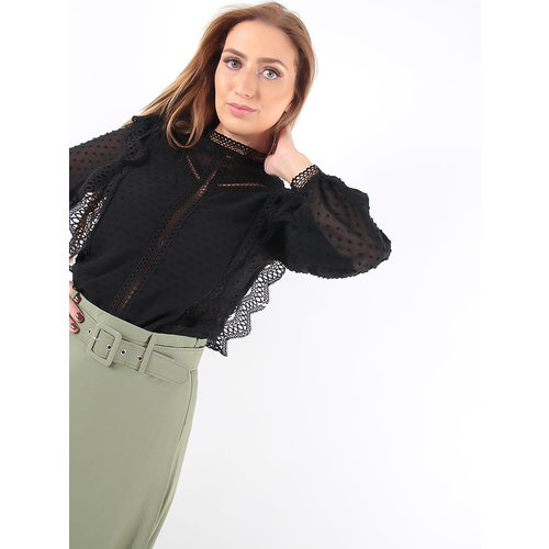LADYLIKE FASHION Blouse Black Dots See Through