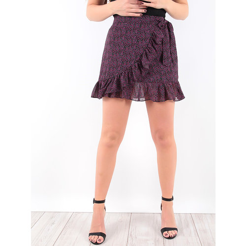 LADYLIKE FASHION Wrap Over Ruffles Skirt Black